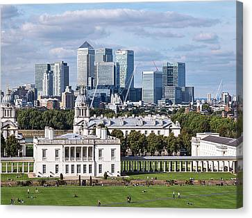 Greenwich And Canary Wharf Canvas Print by Gill Billington