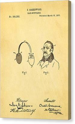 Greenwood Ear Mufflers Patent Art 1877 Canvas Print