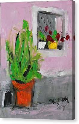 Pallet Knife Canvas Print - Greeting by Becky Kim