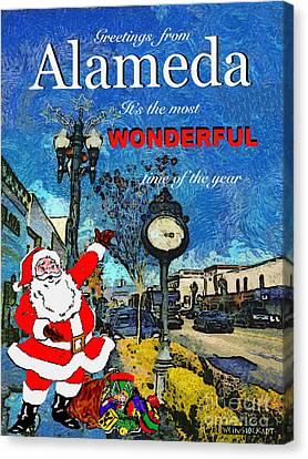 Alameda Christmas Greeting Canvas Print by Linda Weinstock