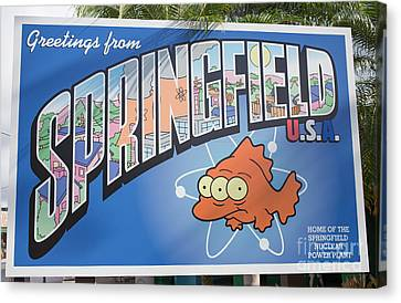 Greeting From Springfield Usa Canvas Print by Edward Fielding