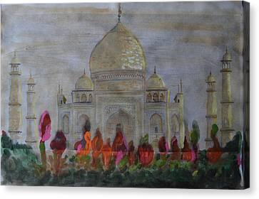 Greeting From The Taj Canvas Print