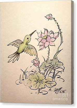 Greeting Hummingbird Canvas Print by Rose Wang