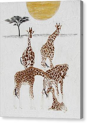 Canvas Print featuring the painting Greeting The New Arrival by Stephanie Grant