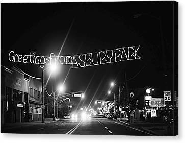 Greetings From Asbury Park New Jersey Black And White Canvas Print