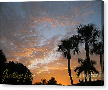 Greetings From Florida The Sunshine State Canvas Print by Oksana Semenchenko