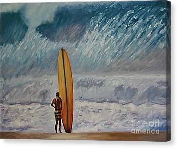 Greg Noll - Waimea Bay Oahu Canvas Print by Amy Fearn