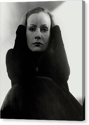 Greta Garbo Wearing A Black Dress Canvas Print by Edward Steichen