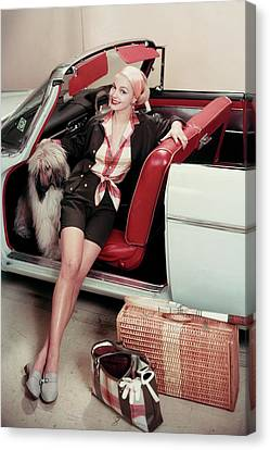 Gretchen Harris In A Car With A Dog Canvas Print by Frances Mclaughlin-Gill