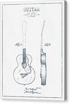 Gretsch Guitar Patent Drawing From 1941 - Blue Ink Canvas Print by Aged Pixel