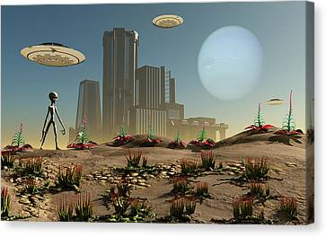 Grey Aliens On A Distant Homeworld Canvas Print