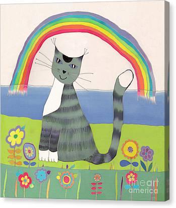 Grey Cat Under Rainbow Canvas Print