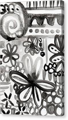 Grey Garden- Abstract Floral Painting Canvas Print by Linda Woods