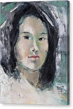 Grey Hair -self Portait Under Natural Window Light Canvas Print by Becky Kim