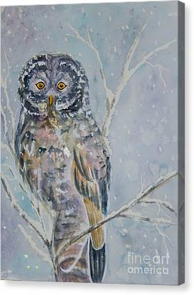 Great Gray Owl On A Snowy Day Canvas Print by Ellen Levinson