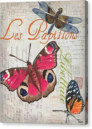 Grey Postcard Butterflies 1 Canvas Print by Debbie DeWitt