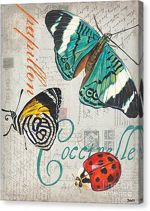 Grey Postcard Butterflies 2 Canvas Print by Debbie DeWitt