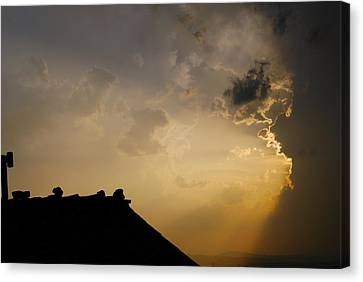 Grey Sunset Over Rooftop Canvas Print by Dorothy Berry-Lound