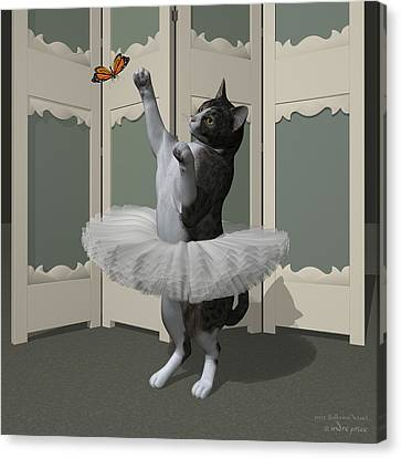 Grey Tabby Ballet Cat On Paw-te Canvas Print by Andre Price