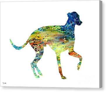 Greyhound 3 Canvas Print by Watercolor Girl