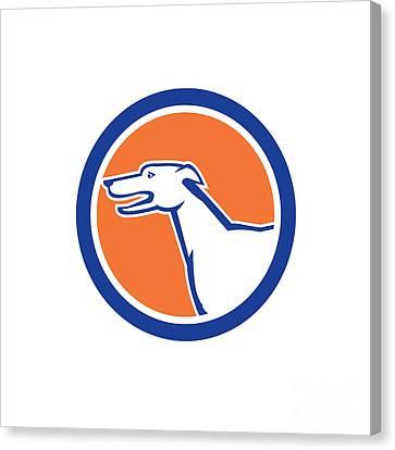 Greyhound Dog Head Side Retro Circle Canvas Print by Aloysius Patrimonio