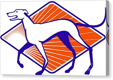 Greyhound Dog Walking Side Retro Canvas Print by Aloysius Patrimonio