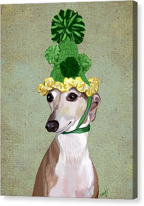Greyhound Green Bobble Hat Canvas Print by Kelly McLaughlan