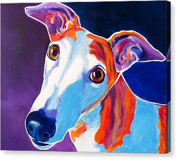 Rescued Greyhound Canvas Print - Greyhound - Halle by Alicia VanNoy Call