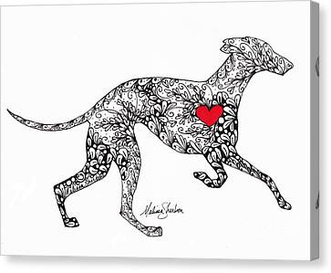 Canvas Print featuring the drawing Greyhound by Melissa Sherbon
