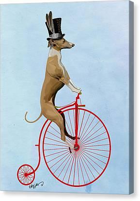 Greyhound Pennyfarthing Red Canvas Print by Kelly McLaughlan