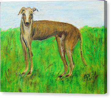 Rescued Greyhound Canvas Print - Greyhound Posing by Lucille  Valentino