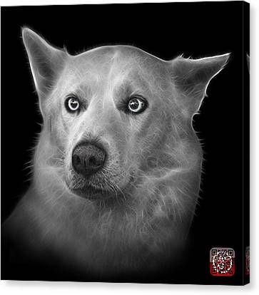 Greyscale Mila - Siberian Husky - 2103 - Bb Canvas Print by James Ahn