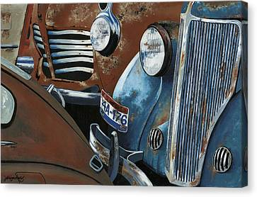 Rusted Cars Canvas Print - Gridlock In The Yard by John Wyckoff