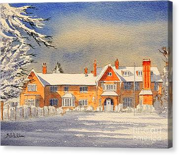 Griffin House School - Snowy Day Canvas Print by Bill Holkham