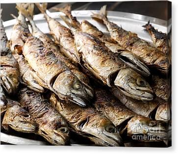 Restauraunt Canvas Print - Grilled Mackerels by Sinisa Botas