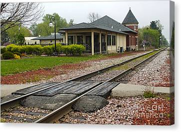 Grinnell Iowa - Train Depot Canvas Print by Gregory Dyer