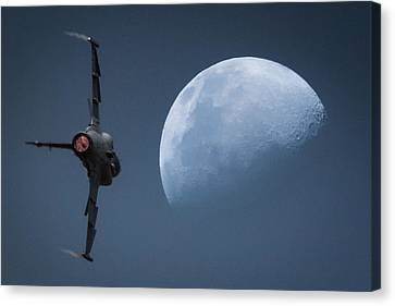 Canvas Print featuring the photograph Gripen Moon by Paul Job