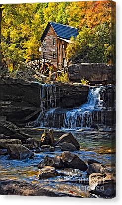 Grist Mill In Babcock State Park West Virginia Canvas Print by Kathleen K Parker