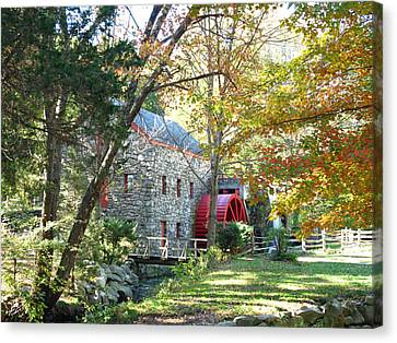 Grist Mill In Fall Canvas Print by Barbara McDevitt