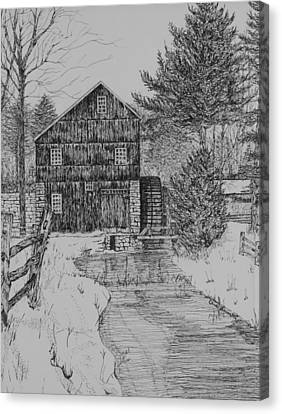 Grist Mill In Winter Canvas Print by Christine Brunette