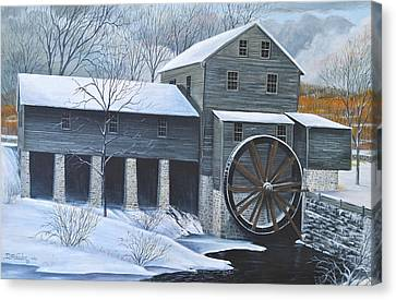 Grist Mill In Winter Canvas Print by Dave Hasler
