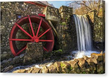 Wayside Inn Grist Mill Canvas Print - Grist Mill Waterfall by Mark Papke