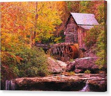 Grist Mill With Stream Canvas Print by Garland Johnson
