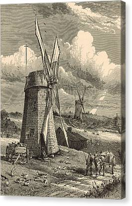 Grist Windmills At East Hampton 1872 Engraving By John Karst Canvas Print by Antique Engravings
