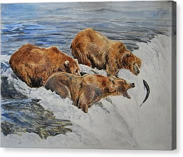 Grizzlies Fishing Canvas Print by Juan  Bosco