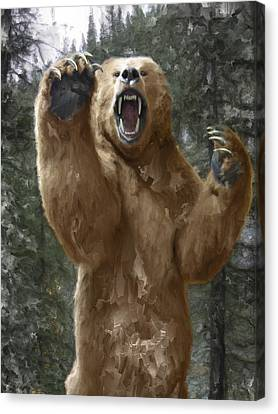 Grizzly Bear Attack On The Trail Canvas Print