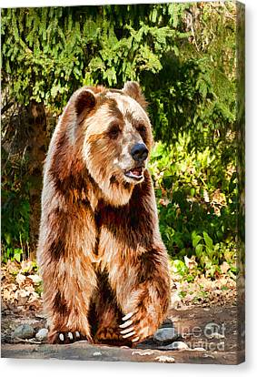 Grizzly Bear - Painterly Canvas Print by Les Palenik