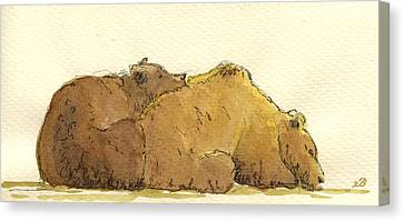 Grizzly Bears Canvas Print by Juan  Bosco