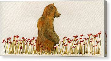 Grizzly Brown Bear Flowers Canvas Print by Juan  Bosco