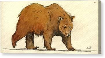 Grizzly Brown Big Bear Canvas Print by Juan  Bosco